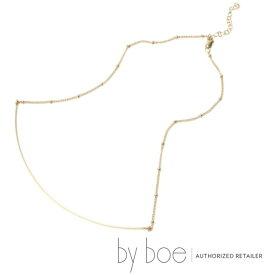 【byboe バイボー】LinoJewels限定デザイン CURVE BAR&SATURN CHAIN ネックレス ワイヤー バー