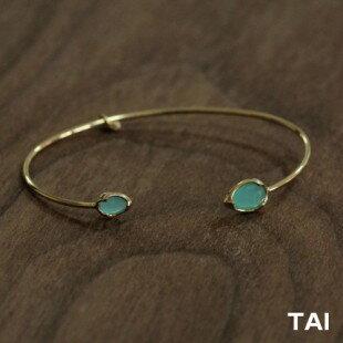 【TAIJEWELRY[タイジュエリー] 】MINT COLORED GLASS GOLD OPEN CUFF  カフ ブレスレット