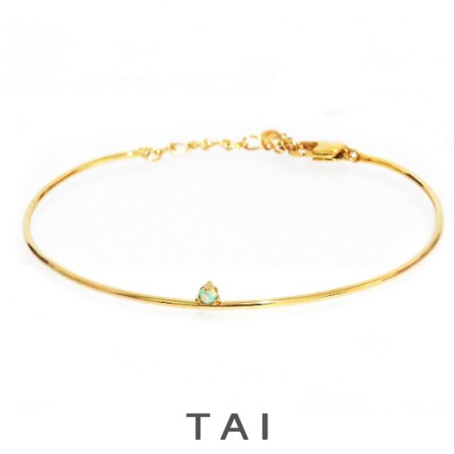 【TAIJEWELRY[タイジュエリー] 】ゴールドワイヤーカフ 一粒オパール ブレスレット