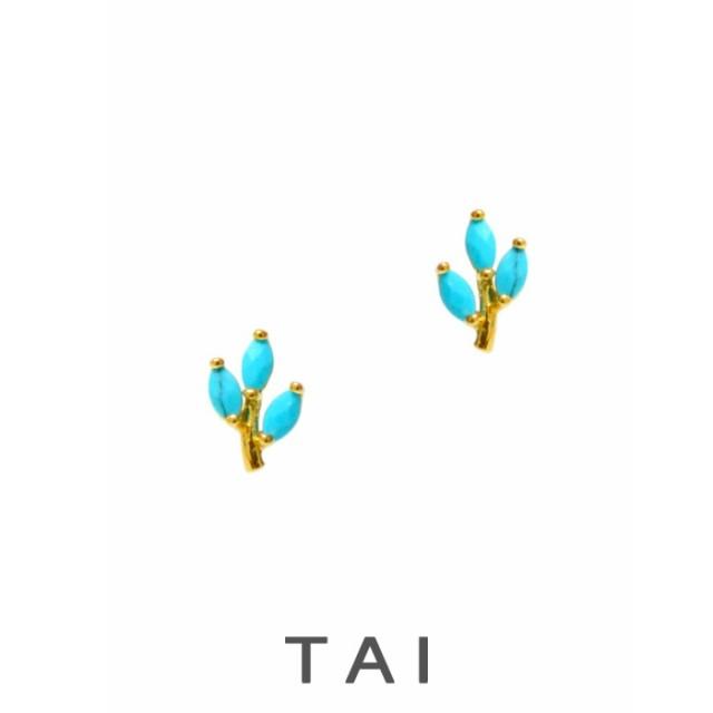 【TAI JEWELRY[タイジュエリー] 】TURQUOISE GLASS スタッズ ピアス ターコイズ