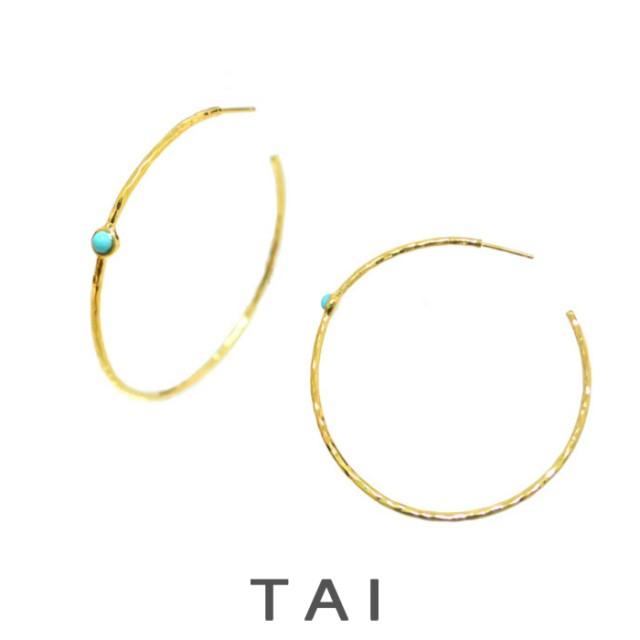 【TAIJEWELRY[タイジュエリー] 】HAMMERED HOOP WITH TURQUOISE ピアス ターコイズ ゴールド フープピアス