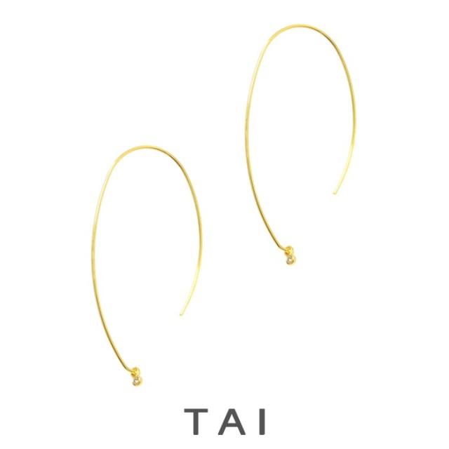 【TAIJEWELRY[タイジュエリー] 】12K GOLD スレーダー ワイヤーピアス 一粒ジルコニア