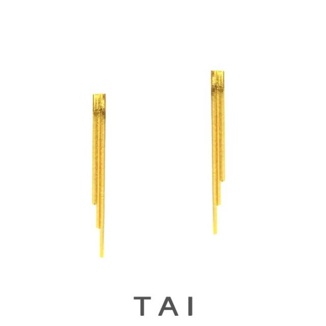 【TAI JEWELRY[タイジュエリー] 】ゴールド トリプル ライナー フリンジ ピアス