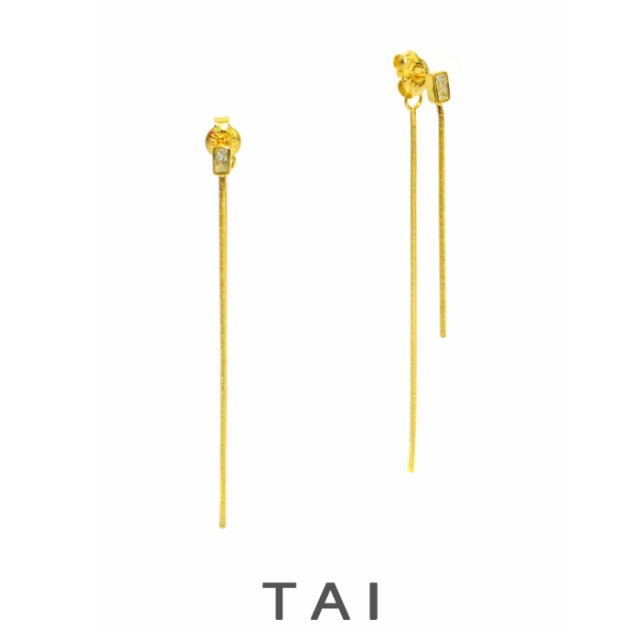 【TAI JEWELRY[タイジュエリー] 】ゴールド ライナー ロングピアス バックチェーン