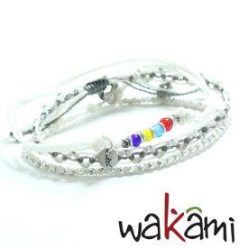 【WAKAMI [ワカミ]】 ストーンアンクレット 3本セット ホワイト