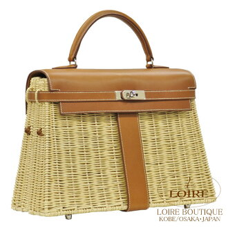 Hermes Kelly picnic Willow x natural Varenne × Fab silver fittings