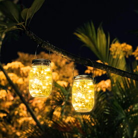 ソーラーライト 屋外 ガーデンライト メイソンジャー風ソーラーライト 夜間自動点灯防水 LED ソーラー充電式 イルミネーション ガラスライト 屋外装飾 2個セット