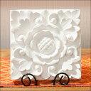 ストーンレリーフ フラワー20cm(アジアン雑貨 花 おしゃれ リゾート 石製 壁面 ラグジュアリー インテリア ホワイト …