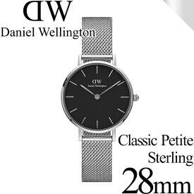 ダニエルウェリントン 腕時計 クラシックペティット 28mm スターリング シルバー ブラック レディース Daniel Wellington DW00100218 安心の正規品・2年保証 代引手数料無料 送料無料 あす楽 即納可能