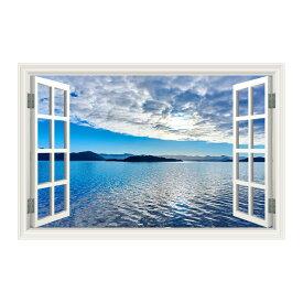 ウォールステッカー 窓枠 空と海(Sサイズ) WAKU 風景 景色 北欧 旅行 写真 シール お風呂 浴室 絵画 壁紙 ポスター おしゃれ リフォーム DIY トイレ インスタ 映え