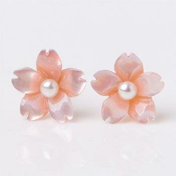◆「ベビーパール桜ピアス」【桜 ピアス】【真珠ピアス】【さくら_ピアス】【夏 ピアス】【パール ピアス】