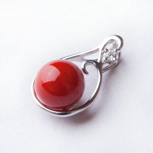 【1点もの】「血赤珊瑚ダイヤペンダントトップ」【赤珊瑚 ネックレス】【さんご ペンダント】【母の日】