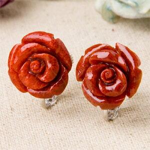 15mmスポンジサンゴ薔薇イヤリング【珊瑚ピアス】【赤珊瑚】【ばらイヤリング】【母の日】