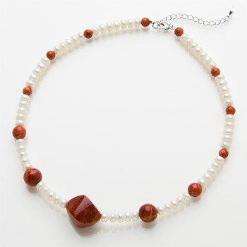 ◆「真珠 X 珊瑚」 スポンジ珊瑚パールネックレス