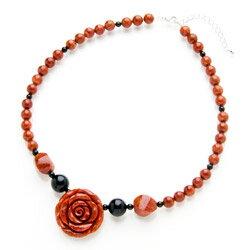 スポンジサンゴローズネックレス【薔薇、ばらネックレス】 【赤珊瑚 珊瑚ネックレス、】