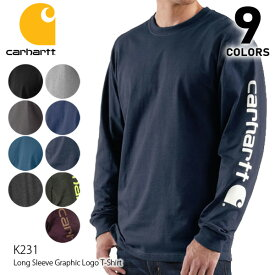 カーハート/carhartt K231 メンズ トップス ロンT Long Sleeve Graphic Logo T-Shirt ブルー チャコール ネイビー アッシュ レッド ブラック クルーネック 長袖Tシャツ US規格【ネコポス発送】