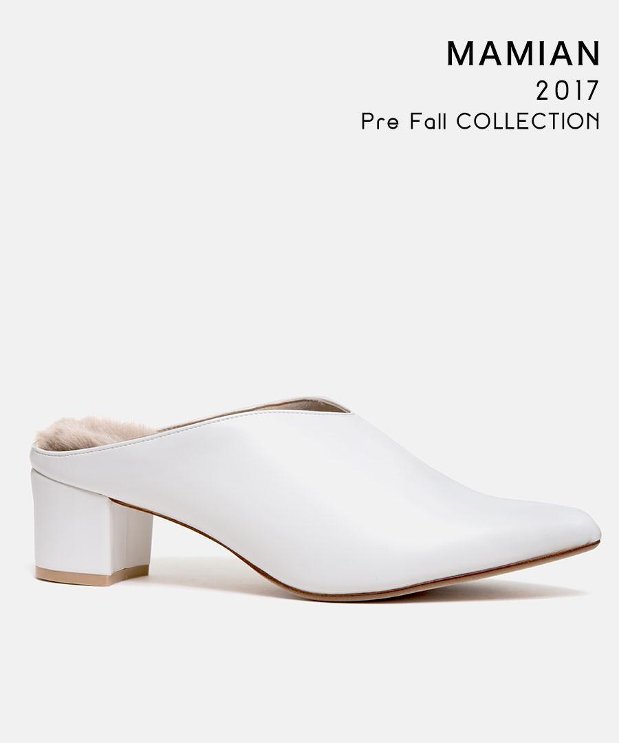 [最終マークダウン!50%OFF]美脚サボミュール:足が痛くない(なりにくい)5.0cmヒール/日本製/ポインテッドトゥチャンキーヒールファー付きサボミュール:ホワイトスムース(5530PF1-ag)
