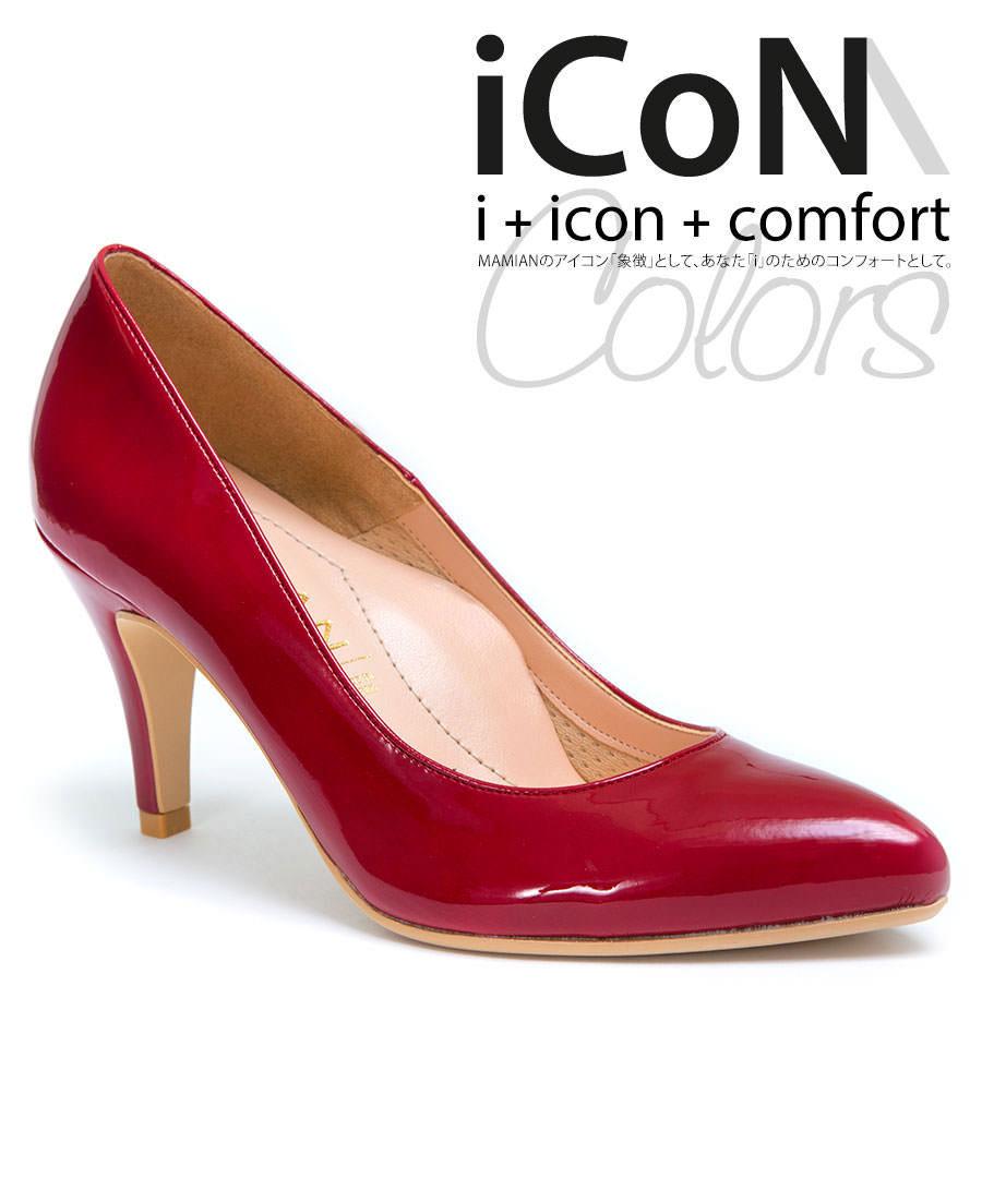 [30%OFF:iCoN Colors SALE]美脚アーモンドトゥエナメルカラーパンプス 足が痛くない(なりにくい)8.0cmヒール 日本製 通勤 22.0cm〜24.5cm 【iCoN】Colors 80A:レッドエナメル(1710CSS1-ah)