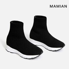 スニーカー ソックスブーツ ショート 美脚 足が痛くない(なりにくい)ブーツ 日本製 ブラック 黒 Black 22.5cm〜25.0cm ラウンドトゥスニーカーショートブーツ(3802)
