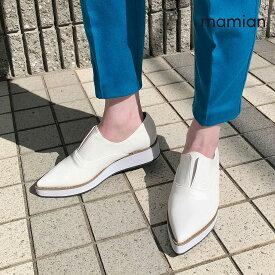 【30%OFF:期間限定SALE】美脚厚底シューズ 足が痛くない(なりにくい)ブラック 日本製 レディース 22.5cm〜25.0cm ポインテッドトゥノーレースプラットフォームシューズ:ホワイトスムース(4774)
