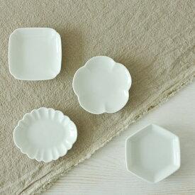 【白花】しろはな 豆皿 / 豆小皿 小皿 つまみ皿 ミニ皿 しょうゆ皿 薬味皿 盛塩皿 付き出し おしゃれ かわいい 花形 四角 梅 菱型