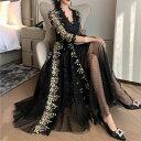 パーティードレス ワンピース ブラックドレス セクシー シースルー 韓国ドレス 花柄 レース リーフ柄 ドット柄 Vネッ…