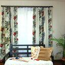 【見積】カーテン オーダーカーテン 遮光カーテン『ストライプモンス』 1級遮光 ドレープカーテン 厚地 花柄 ハイビスカス柄 南国 リゾ…