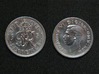 영국에서 출발 하는 행복의 6 펜스 동전 1951 년 조지 6 세