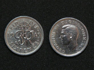 6 Pence coin 1949 of the United Kingdom from happiness GR design first year George VI