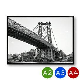 A2/A3/A4ポスター ウィリアムズバーグ橋 ニューヨーク 吊り橋 インテリア 景色 風景 写真 アートポスター おしゃれ 北欧 ポイント消化 送料無料
