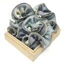 フラワープリントシュシュ☆ヘアアクセサリー ヘアーアクセサリー 花柄 フラワー スモーキーカラー ミント ブルー グ…