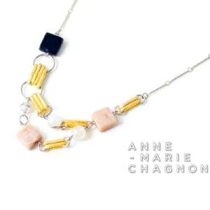 2021new アンマリーシャニョン + 瑪瑙 デザイン ネックレス ピンク ガラス 金属アレルギーを起こしにくい素材でお肌にやさしい ブランド レディース アクセサリー 22K マット ゴールド メタリ