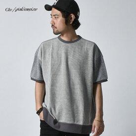 Tシャツ 半袖 Tシャツ メンズ デザイン配色ルーズニットソー Galvanize ガルバナイズ