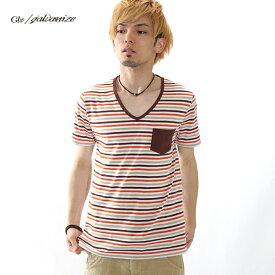 Tシャツ 半袖 メンズ ポケット付き Vネック ボーダーTシャツ Galvanize ガルバナイズ /ss【ネコポス】