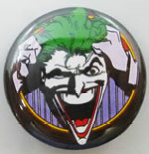 【BATMAN バットマン】 缶バッジ Mサイズ 『ジョーカー ウィンク』 ピンバッジ・バッチ・THE JOKER・DCコミックス・DC・アメキャラ・アメコミ・アメリカン雑貨・アメリカ雑貨・アメ雑