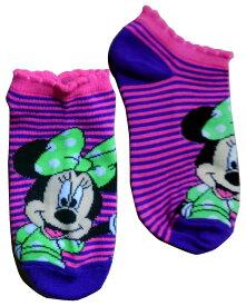 【Disney/ディズニー】ミニーマウス キッズ用ソックス・靴下『ボーダー』パープル アメキャラ・アメコミ・アメリカン雑貨・アメリカ雑貨・アメ雑