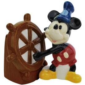【Disney/ディズニー】 ソルト&ペッパー 陶器製 『ミッキー(蒸気船ウィリー)』 WESTLAND・ウェストランド社・塩コショウ入れ・アメキャラ・アメコミ・アメリカン雑貨・アメリカ雑貨・アメ雑