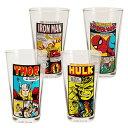 ◎【MARVEL マーベル】 タンブラー・グラス 4個SET (473ml) 『コミック』 スパイダーマン・アイアンマン・ハルク・ソー・アメキャラ…
