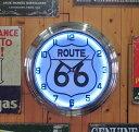 ネオンクロック 【ROUTE 66】 ルート66 ネオン時計・NEON CLOCK アメリカ雑貨・アメ雑・アメリカン雑貨 10P24Dec15