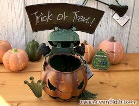 ハロウィン かぼちゃのカエル トリックオアトリート パンプキンポット 鉢 カボチャ カエル フラワーポット