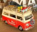 ノスタルジックデコ クリスマスカー バス レッド