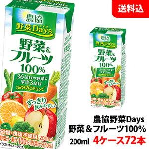 送料無料 雪印メグミルク 農協野菜Days 野菜&フルーツミックス 200ml 4ケース(72本)【砂糖・食塩・着色料・保存料無添加】