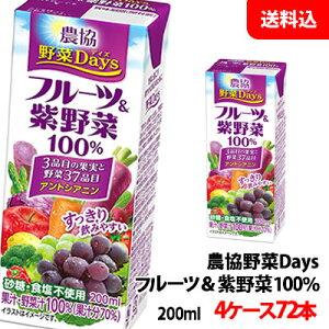 送料無料 雪印メグミルク 農協野菜Days フルーツ&紫(むらさき)野菜ミックス 200ml 4ケース(72本)【砂糖・食塩・着色料・保存料無添加】