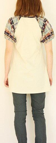 ラグラン袖切替えチュニック授乳服マタニティ安い可愛いお買い得半額以下クリアランスセール在庫一掃在庫処分在庫限りMLLL春夏初期中期