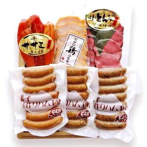 【春ギフト】【送料無料】【産地直送】とん太ファミリー ウインナー&燻しセット(ウインナー3種[あらびき・青じそ・青唐辛子]、燻しササミ、豚タンスライス、いぶし鶏おつまみ)[TY-C