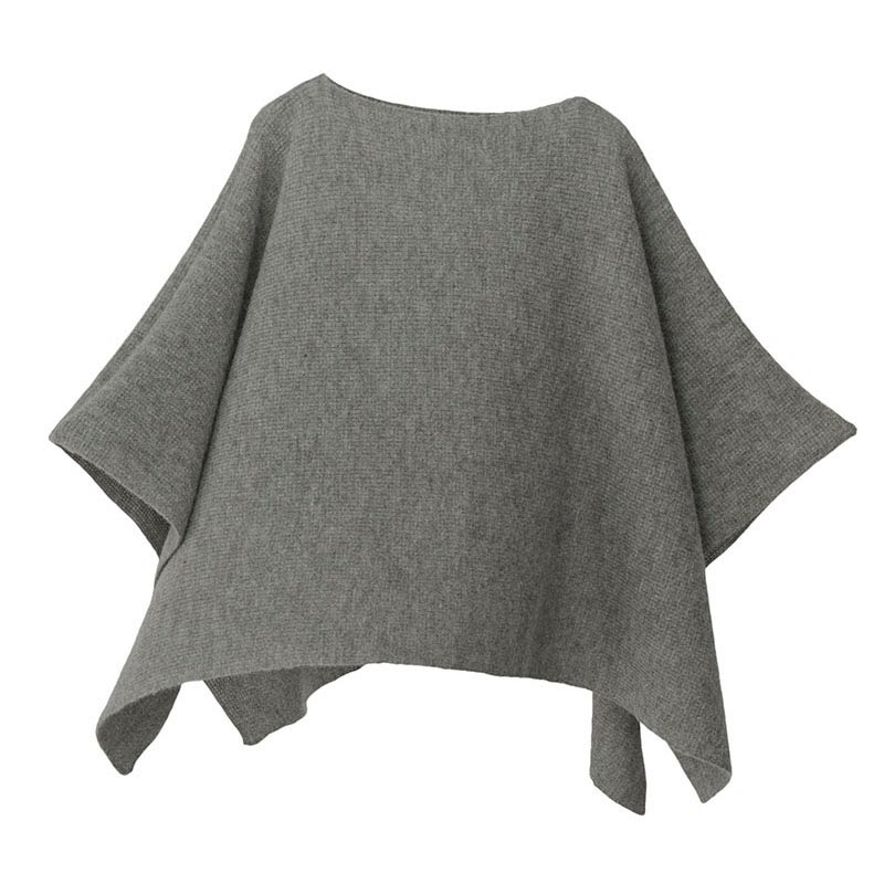 【ニットポンチョmino】winter yoko baby alpaca & wool グレー フリーサイズ ベビーアルパカ&ウール / 横方向にスリットを入れた、かぶるタイプのポンチョです。[送料無料]
