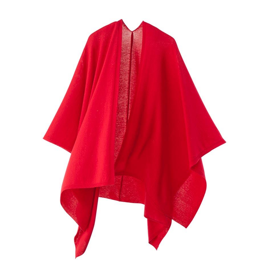 【ニットポンチョmino】winter tate wool レッド フリーサイズ ウール / 縦にスリットを入れた羽織タイプのポンチョです。[送料無料]