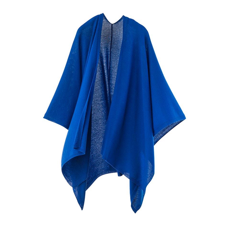 【ニットポンチョmino】winter tate wool ブルー フリーサイズ ウール / 縦にスリットを入れた羽織タイプのポンチョです。[送料無料]