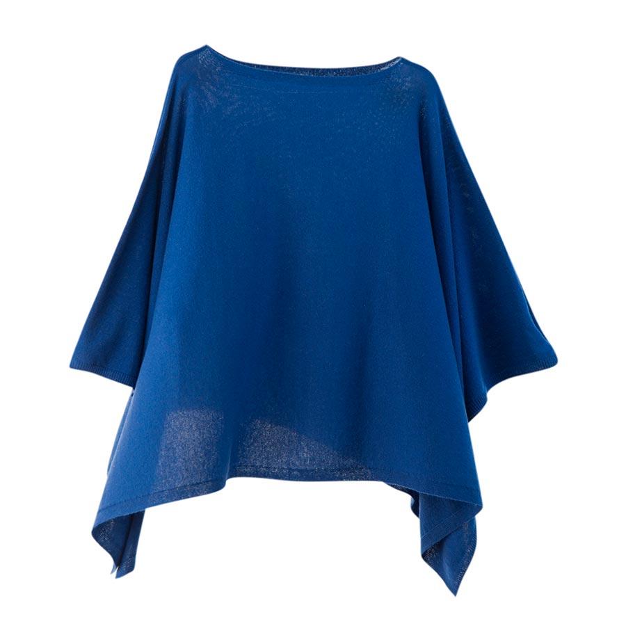 【ニットポンチョmino】winter yoko wool ブルー フリーサイズ ウール / 横方向にスリットを入れた、かぶるタイプのポンチョです。[送料無料]