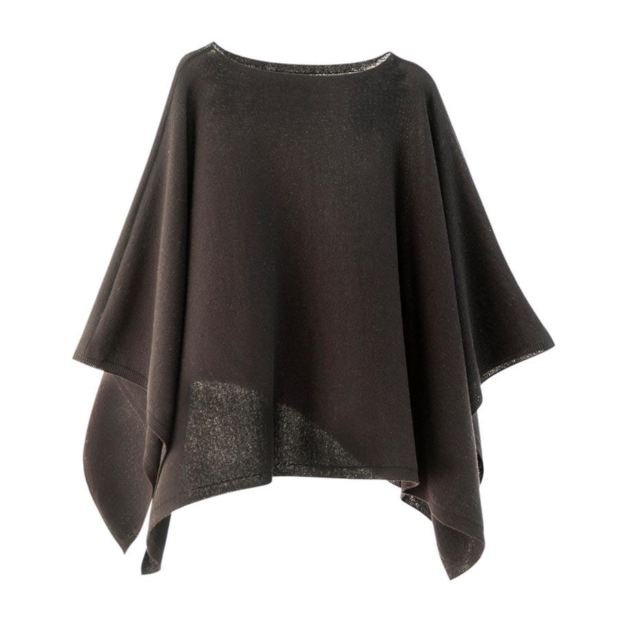 【ニットポンチョmino】winter yoko wool ブラック フリーサイズ ウール / 横方向にスリットを入れた、かぶるタイプのポンチョです。[送料無料]